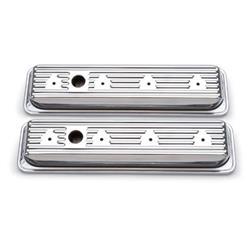 Edelbrock 4446 Signature Series Chrome Valve Cover Set, Chevy 305, 350