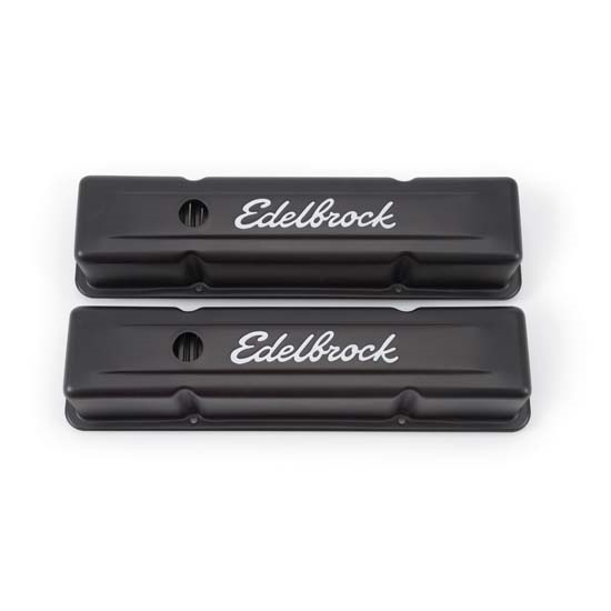 Edelbrock 4643 Signature Series Black Valve Cover Set, SB Chevy