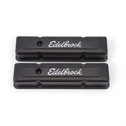 Edelbrock 4643 Signature Series Black Valve Cover Set, SB Chevy