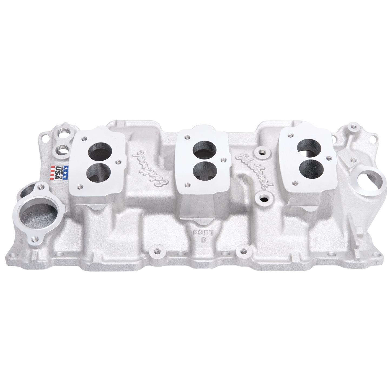 Edelbrock 5418 Small Block Chevy 3x2 3-Bolt Carb Intake Manifold