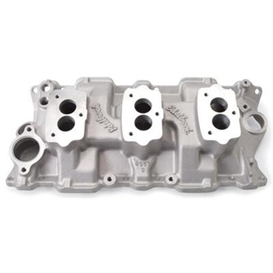 Edelbrock 5418 Small Block Chevy 3x2 3-Bolt Carb Intake
