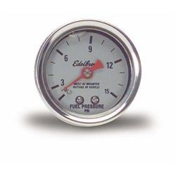 Edelbrock 73832 Nitrous System Fuel Pressure Gauge, 0-15 psi
