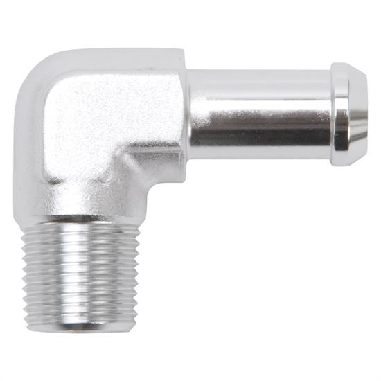 Edelbrock 8164 Pipe to Hose Barb Fitting, 1/2 to 3/8, Clear Anodized