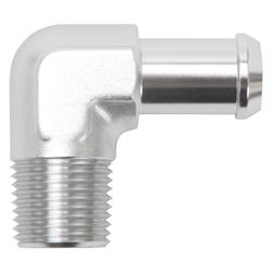 Edelbrock 8179 Pipe to Hose Barb Fitting, 90 Deg, 1/2 in. NPT