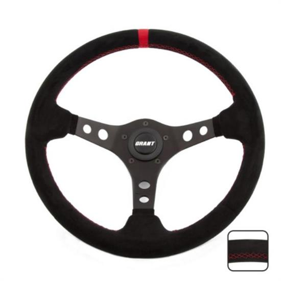 Grant 695 Suede Series Steering Wheel, 13-3/4 Inch, Black/Red