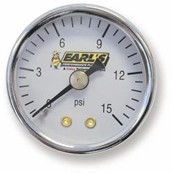 Earls 100195ERL Fuel Pressure Gauge, 1.5 Inch Diameter