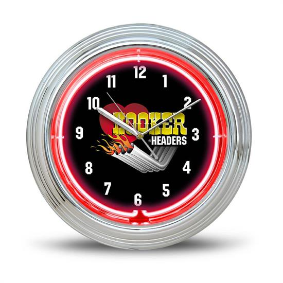 Hooker Headers 10150HKR Zoomie 10 Inch Red Neon Wall Clock