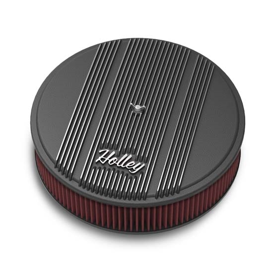 Holley 120-153 Round Black Finned Air Cleaner, Reusable Filter, 14 x 3