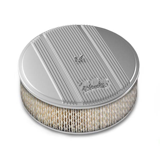 Holley 120-154 Round Polished Finned Air Cleaner, Paper Filter, 14 x 4