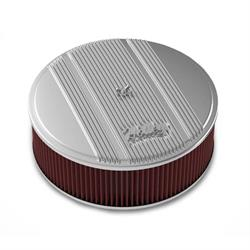 Holley 120-155 Round Polished Finned Air Cleaner, 4 In Reusable Filter