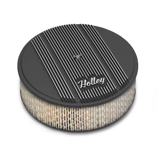 Holley 120-156 Round Black Finned Air Cleaner, Paper Filter, 14 x 4