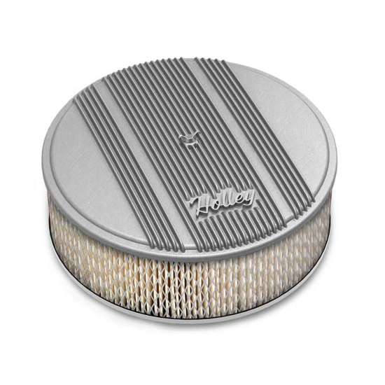 Holley 120-159 Round Raw Finned Air Cleaner, Paper Filter, 14 x 4 Inch