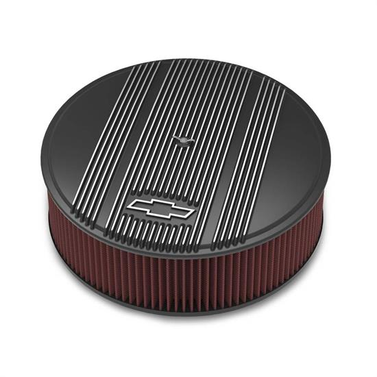 Holley 120-173 Round Satin Black Finned Air Cleaner, 14 x 4