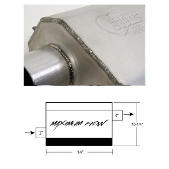 Hooker 21630HKR Maximum Flow Muffler, Single 3 Inch Offset Inlet