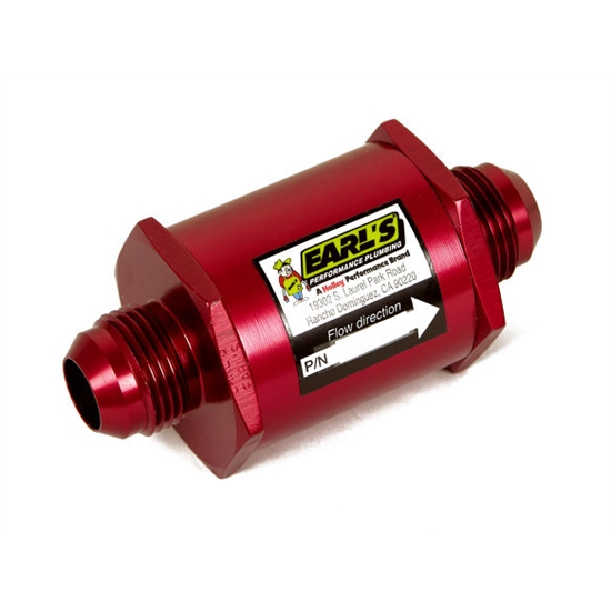 Earls 230216ERL In-Line Fuel Filter, -16 AN, Red Anodized