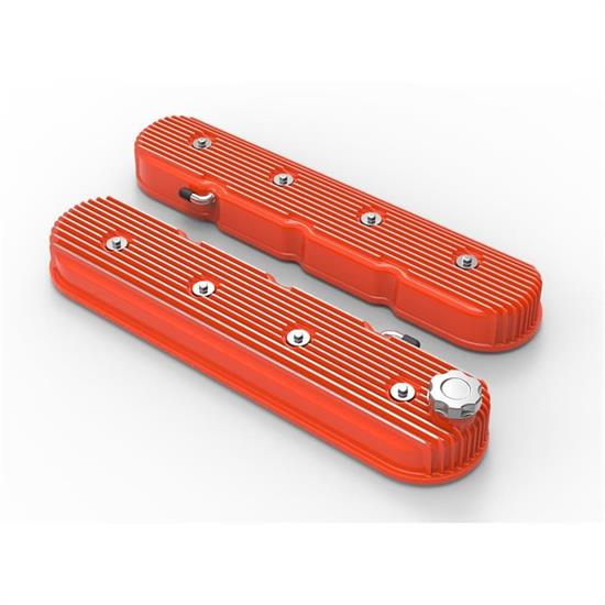 Holley 241-141 Vintage Series Finned Tall LS Valve Covers, Orange