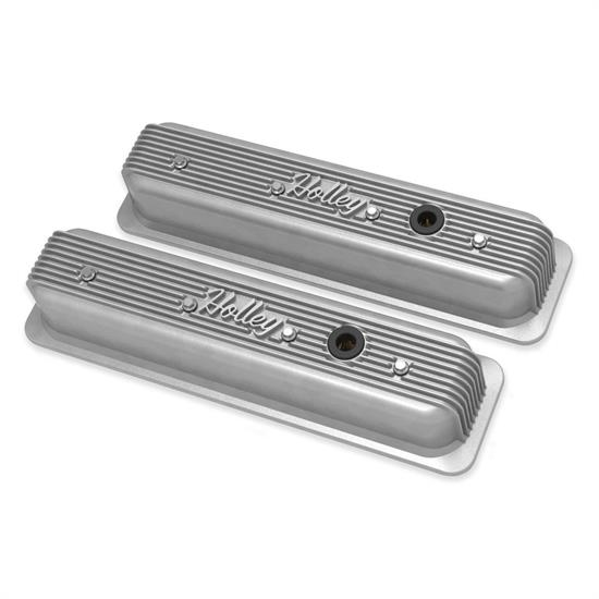 Holley 241-246 Finned Valve Covers, SBC, Natural Finish