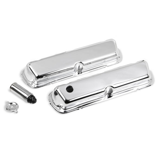 Holley 241-81 Ford Chrome Valve Covers, 4-Bolt Stamped Steel, Short