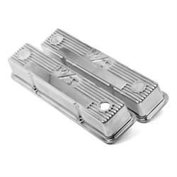 Holley 241-82 SB Chevy M/T Valve Covers, Polished, Cast Aluminum