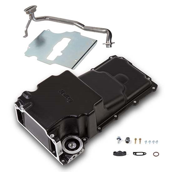 Holley 302-2BK LS Swap Oil Pan, Additional Front Clearance, Black