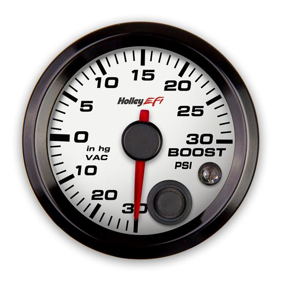 Holley EFI 553-130W EFI Vacuum/Boost Gauge, 2-1/16 Inch, White/Black