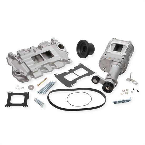 Weiand 6500-1 Chevy Small Block Powercharger Kit, Satin Finish
