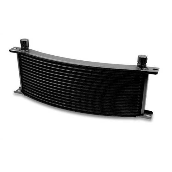 Earls 91608AERL 16 Row Oil Cooler Core, -8 AN Male Fitting, Black Wide