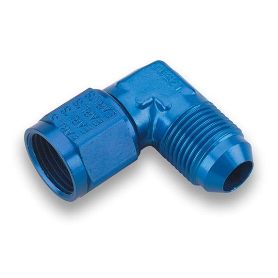 Earls 921106ERL Blue 90 Degree -6 AN Male to -6 AN Female Swivel
