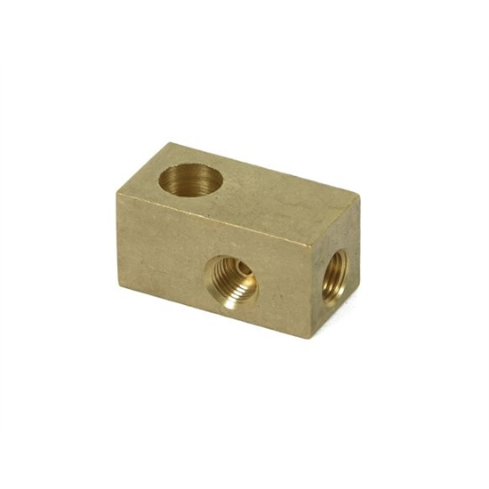 Earls 972052ERL 3/8-24 Inch IF 7/16 Inch Hole Brake Adapter Tee, Brass