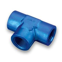 Earls 991702ERL Blue Anodized 1/4 Inch NPT Female Tee, Aluminum