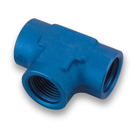 Earls 993808ERL Blue Anodized -8 AN Female Tee Fitting, Aluminum