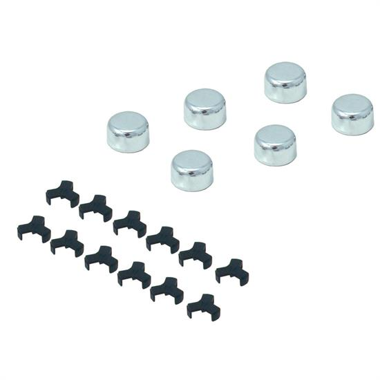 Spectre 1418 Steel Chrome Plated Bolt Caps, 9/16 Inch, 14mm, Set/6