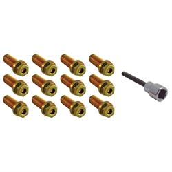 Spectre 46723 Header Bolts, Gold Iridated, Steel, Set of 12