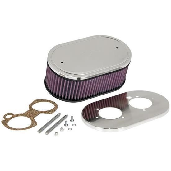 K/&N 56-1720 Custom Oval Air Filter Assembly for Weber Carburetors