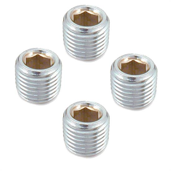 Spectre 6048 Steel Pipe Plug Fittings, 1/4 Inch NPT, Chrome, Set of 4