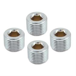 Spectre 6068 Steel Pipe Plug Fittings, 1/2 Inch NPT, Chrome, Set of 4