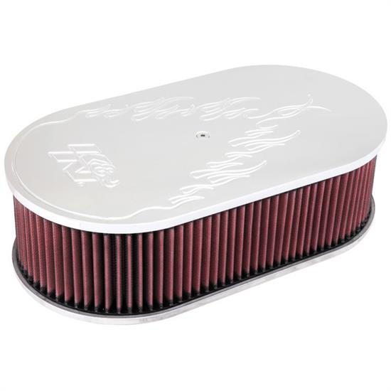 K&N 66-1460 66 Series Air Filter Assembly, 4in Tall, Red, Oval