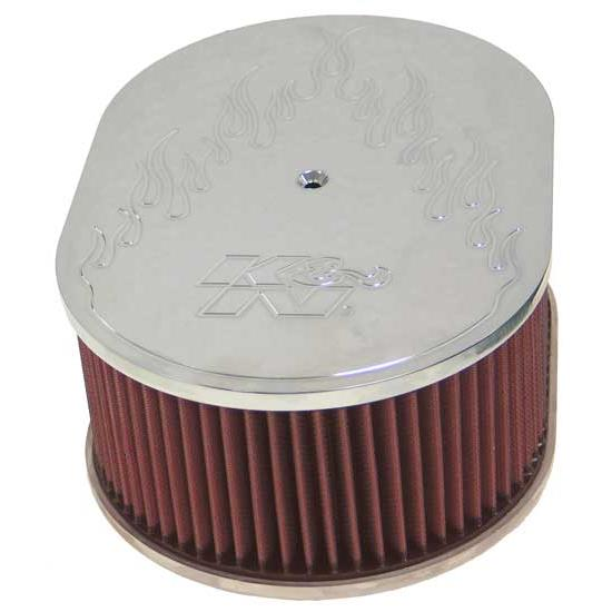 K&N 66-1520 66 Series Air Filter Assembly, 4in Tall, Red, Oval