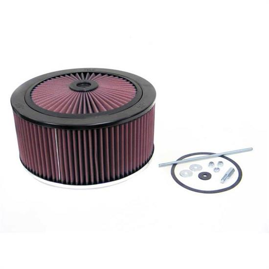 K&N 66-3140 X-Stream Airflow Air Filter Assembly, 3.5 Tall, Red, Round