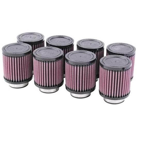 K&N 4 Inch Single Type Injector Stack Air Filters, 2-1/8 Inch, Set/8