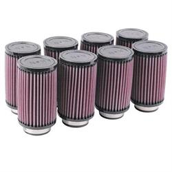 K&N 6 Inch Single Type Injector Stack Air Filters, 2-1/8 Inch, Set/8
