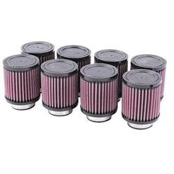 K&N 4 Inch Single Type Injector Stack Air Filters, 2-1/2 Inch, Set/8