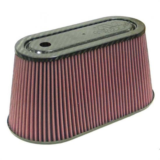 K&N RP-5070 Air Filter, Carbon Fiber Top/Base, 6in Tall, Oval Straight