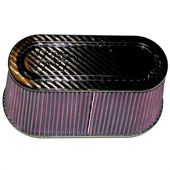 K&N RP-5115 Air Filter, Carbon Fiber Top/Base, 6in Tall, Oval Straight