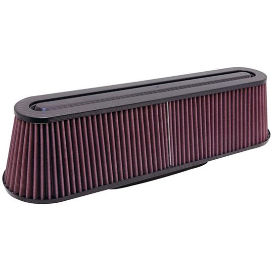 K&N RP-5161 Air Filter, Carbon Fiber Top/Base, 4.625in, Oval Straight