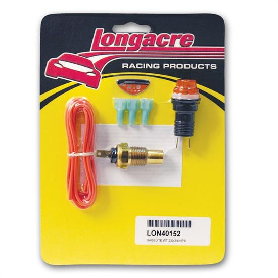 Longacre 40152 Gagelites Warning Light Kit, 230 Deg Water Temp,3/8 NPT