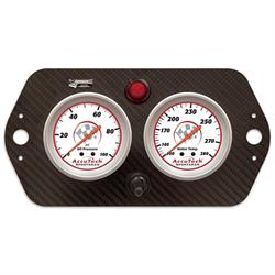 Longacre 44423 AccuTech Sprint Car Oil/Water Gauge, Carbon Fiber