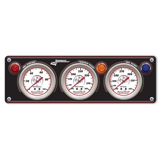 Longacre 44431 3 Gauge Aluminum Panel w. Sportsman Gauges - OP,WT,OT