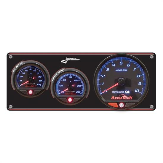 Longacre 52-44470 2 Gauge Panel w/ AccuTech SMi Gauges w/ Tach