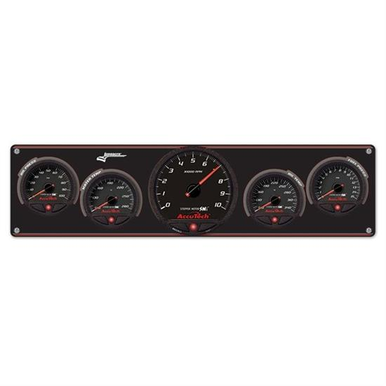 Longacre 44495 4 Gauge Panel w/ AccuTech WR SMi Gauges, Tach - OP,WT,OT,FP